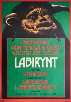 """Polska szkoła plakatu, oryginalny plakat filmowy vintage z okresu PRL """"Labirynt"""", Wiesław Wałkuski, 1987"""