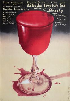 """Polska szkoła plakatu, oryginalny plakat filmowy vintage z okresu PRL """"Szkoda twoich łez"""", Wiesław Wałkuski, 1984"""