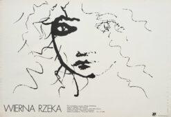 """Polska szkoła plakatu, plakat filmowy vintage PRL """"Wierna rzeka"""", Mieczysław Wasilewski, 1987"""