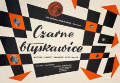 """Polska szkoła plakatu, plakat filmowy vintage PRL """"Czarne błyskawice"""", Stanisław Zagórski, 1960."""